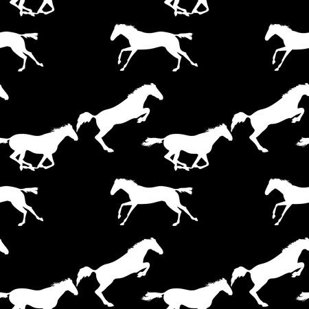herd: Running and jumping herd of horses. Vector seamless pattern with horses. White horse seamless pattern on blackboard. Background with Equine sports theme