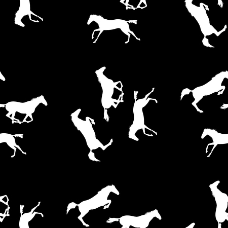herd: Vector seamless pattern with horses. White horse seamless pattern on blackboard. Running and jumping herd of horses. background with Equine sports theme
