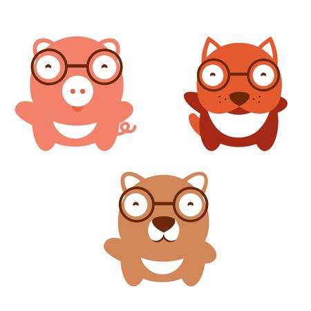 mammalian: illustration of cute animals. illustration of cartoon dog; pig; bear. Collection of pet. Set of mammalian