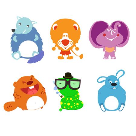 mammalian: illustration of cartoon wolf; elephant; rabbit; bunny; hare; rodent; snake; leo; beaver; cat. Illustration included creeping thing, pet, livestock, beast, mammalian Illustration