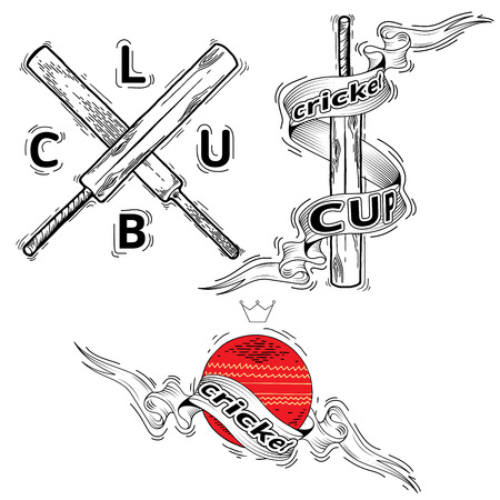 leather ball: illustration of cricket leather ball and wooden bats. The ball and bats. Set of cricket team emblem design elements. Cricket sports label, badge, emblem Illustration