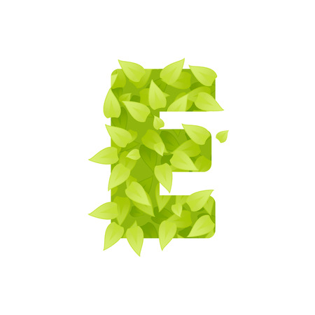 grass font: Alphabet of green grass on white background. Grass font letter. illustration of letter E of green leaves. Lettering of grass alphabet. Typography font with grass texture