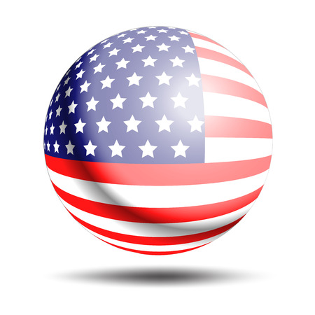 United States Flag sphere Button. Circle button of USA flag on isolated background. United State of America flag on button. American flag vector illustration. American Ilustrace