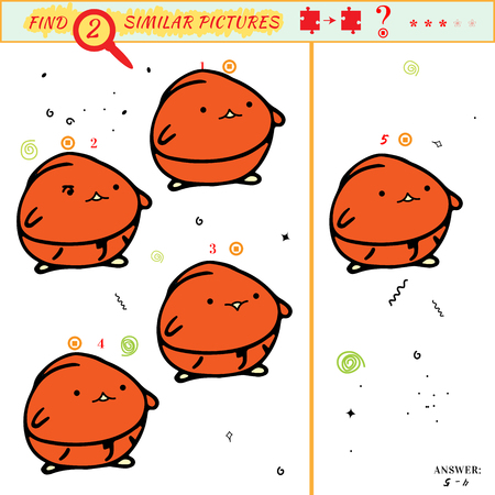 spot the difference: Game puzzles find similar image between two. Education matching game for preschool children. Visual puzzle game for kid. Quiz game with cartoon character Illustration