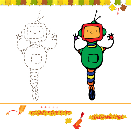 funny picture: Puzzle connect the dots picture and coloring page. Visual game for kids. Puzzle for kid. Education game for preschool child. funny cartoon robot Illustration