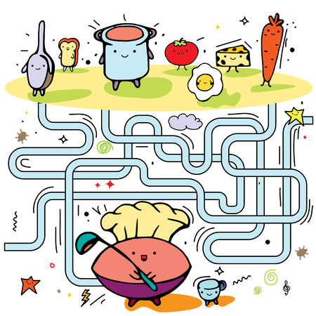 Funny maze game for kids with cartoon character. Visual game for Preschool Children. Maze puzzle with solution. Vector Labyrinth for preschool children. Rebus or quiz for school