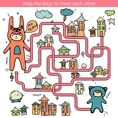 Rebus o quiz con i ragazzi. gioco del labirinto divertente per i bambini. gioco visivo per bambini in età prescolare. Vector Labirinto per i bambini in età prescolare Vettoriali