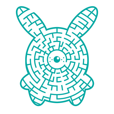 Funny maze game for kids with rabbit. Visual game for Preschool Children. Vector Labyrinth for preschool children