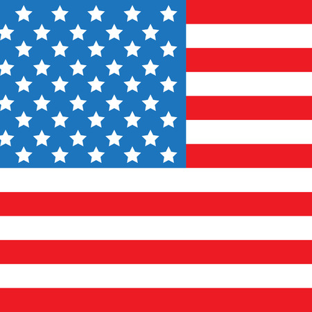 USA flag square shape. Classic American flag on isolated background. American flag vector illustration. Patriotic USA background
