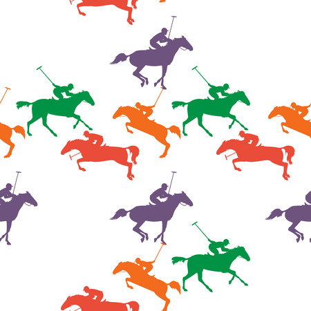 polo sport: wallpaper with polo horse, jockey and mallet. polo sport seamless pattern. Vector horseman and horse background. pattern with colorful polo horses on isolated background