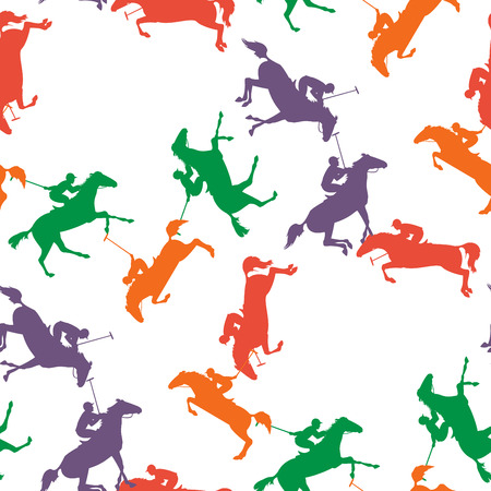 horseman: Vector horseman and horse background. wallpaper with polo horse, jockey and mallet. polo sport seamless pattern. pattern with colorful polo horses on isolated background.