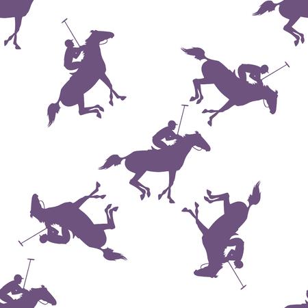 naadloze patroon van polo paard en jockey. Vector ruiter en paard achtergrond. behang met polo paard, jockey en hamer. polo sport naadloos patroon Vector Illustratie