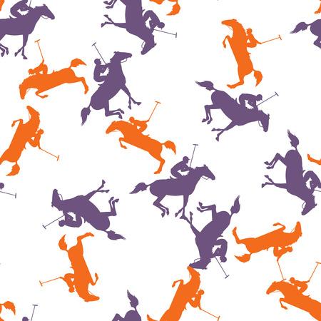 Paardrijder van polo spel. Vector ruiter en paardachtergrond. behang met polo paard, jockey en hamer. polo sport naadloos patroon