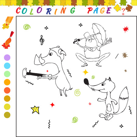 funny image: Coloring book with cartoon fox, pig and frog Funny image for colouring
