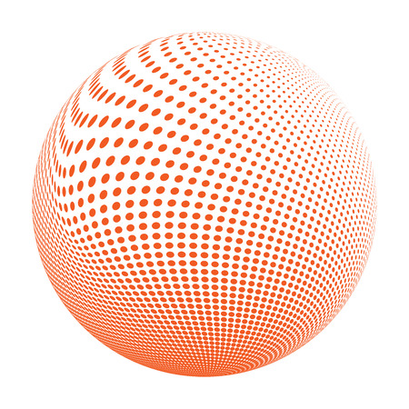 environmental science: Abstract halftone circle design. Colorful round icon, abstract globe symbol, business concept. Abstract colorful dotted sphere. Science and tourism, technology or environmental background