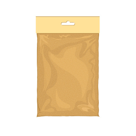 kraft paper: Paper bag blank. Sack kraft paper bag designed for packaging products. sack kraft paper packaging. Yellow paper bag. Paper bag food image. Paper food bag package of tea, sugar, salt, coffee.