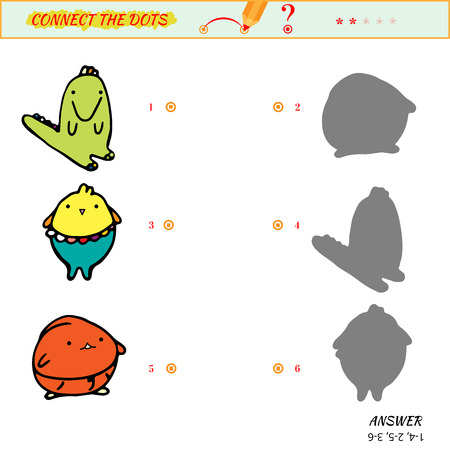 ingenuity: Visual puzzle - Match the pictures of alligator and chicken to their shadows. Game for ingenuity for preschool child with cartoon animals