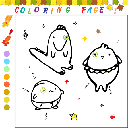 iq: Coloring book with cartoon alligator and chicken Illustration