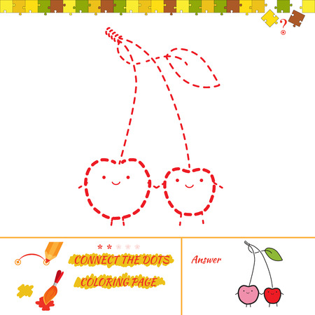 Vector Cartoon cherry for drawing and coloring Illustration