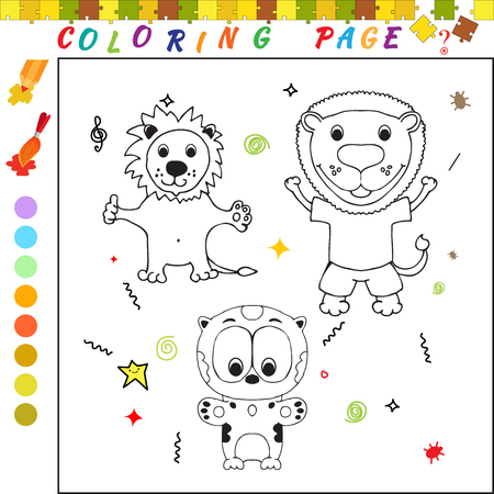 iq: Coloring book with cartoon bears and leopard Funny image for colouring