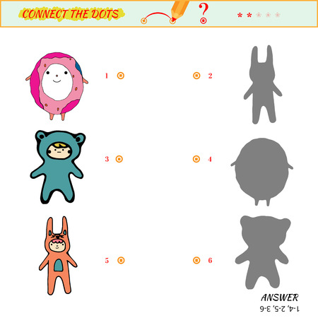 ingenuity: Visual puzzle - Match the pictures of boys to their shadows. Game for ingenuity for preschool child with cartoon cartoon characters