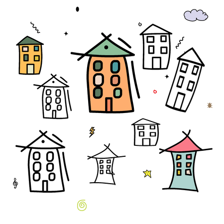 apartment block: Many funny houses or building various shaped. Cartoon high-rise and apartment tower on isolated background. Set of Hand draw apartment block colorful and black color