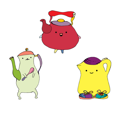 ink pot: Cartoon teapots set hand drawn illustration. Coffee pots yellow, red and green colors and various shape. pottery kitchen utensil for beverage on isolated background