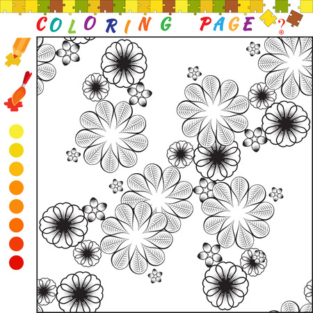 Coloring book with flower ornament theme. Black and white outline illustration for coloring. Visual game for kids and preschool children. Funny image for colouring, drawing