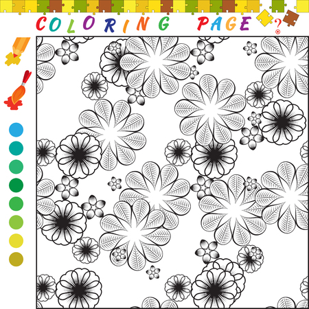 funny image: Coloring book with ornament theme. Black and white outline illustration for coloring. Visual game for kids and preschool children. Funny image for colouring, drawing Illustration