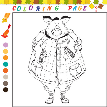 funny image: Coloring book with pig theme. Black and white outline illustration for coloring. Visual game for kids and preschool children. Funny image for colouring, drawing Illustration