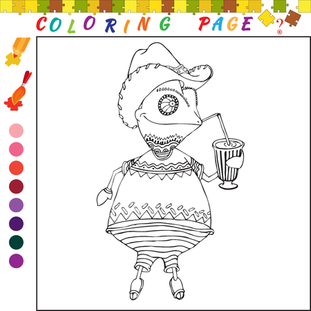 funny image: Coloring book with chameleon. Black and white outline illustration for coloring. Visual game for kids and preschool childrens. Funny image for colouring, drawing