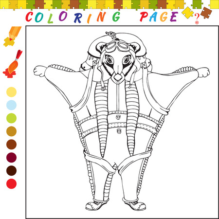 funny image: Coloring book with animals theme. Black and white outline illustration for coloring. Visual game for kids and preschool children. Funny image for colouring, drawing