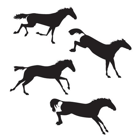 cavalli neri su sfondo isolato. Set di cavalli selvaggi. Vector cavallo di raccolta. Sagome di cavalli. Cavalli in esecuzione, saltare