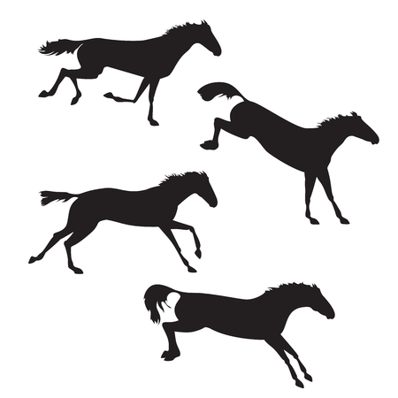 Black horses on isolated background. Set of wild horses. Vector horse collection. Silhouettes of horses. Horses running, jump