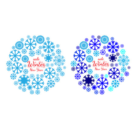 pictogramme: Design element for Christmas card, banner or flyer with space for text. New year celebration pictograms, mandala, circle shape. Christmas and New Year banners set
