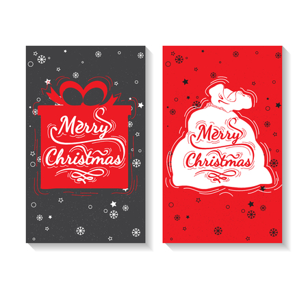 marry christmas: Christmas gift and Santa Claus bag. Holiday greeting card design. Marry Christmas - quote for post card, posters, baneers, flyer. Christmas lettering vector collection