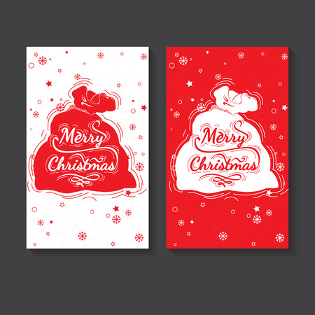 marry christmas: Hand drawn lettering for Christmas and New Year design post card, poster, flyer, banner. Vector lettering collection. Marry Christmas typography Illustration