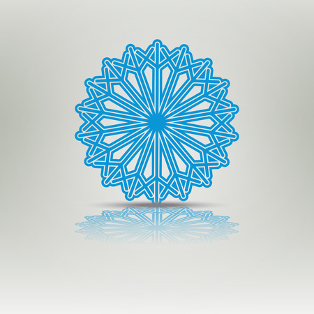 Snowflake vector icons with shadow. Background for winter and christmas theme. New Year background. Snowflake shadow blue color. Christmas elements for design
