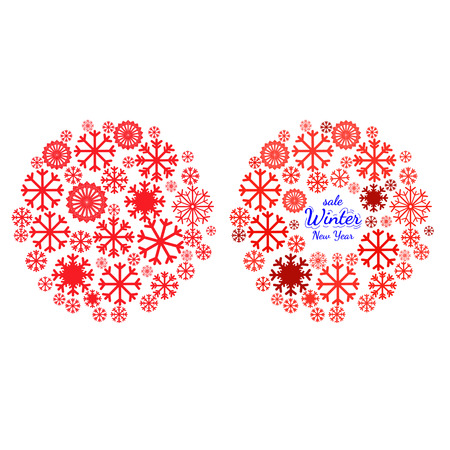 Design element for Christmas card, Christmas banner or flyer with space text. Set of banners with Christmas and New Year symbols including snowflake in mandala. Vector templates