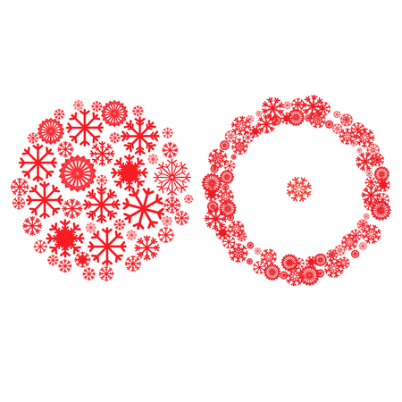 Design element for Christmas card, banner or flyer with space for text. New year celebration pictograms, mandala, circle shape. Christmas and New Year banners set