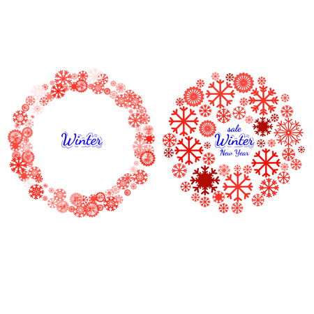 pictogramme: New year celebration pictograms, mandala, circle shape made with snowflake. Christmas and New Year banners set. Design element for Christmas card, banner or flyer with snowflake