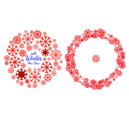 Holidays collections of  background for card, package, flyer, banners, posters with snowflake and space for text. New year and Christmas pictograms, mandala, circle symbol