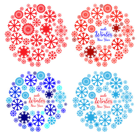 pictogramme: Set of banners with Christmas and New Year symbol. Holidays collections of  background for card, package, flyer, banners, posters with snowflake and space for text