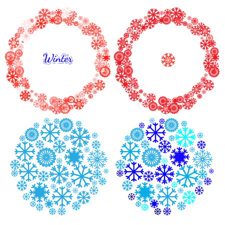 Set of banners with Christmas and New Year symbols including snowflake in mandala. Design element for Christmas card, Christmas banner or flyer with space text. Vector templates