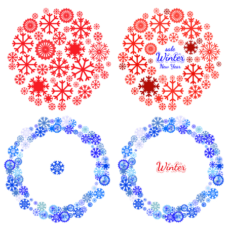 pictogramme: Christmas and New Year banners set. Design element for Christmas card, banner or flyer with snowflake. New year celebration pictograms, mandala, circle shape made with snowflake Illustration