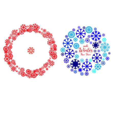 New year celebration pictograms, mandala, circle shape made with snowflake. Christmas and New Year banners set. Design element for Christmas card, banner or flyer with snowflake