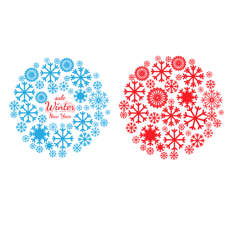 pictogramme: Set of banners with Christmas and New Year symbols including snowflake in mandala. Design element for Christmas card, Christmas banner or flyer with space text. Vector templates