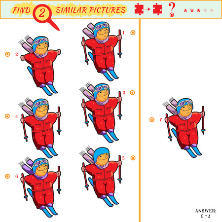Game puzzles find similar image between two. Education matching game for preschool children. Visual puzzle game for kid. Quiz game. Cartoon skier