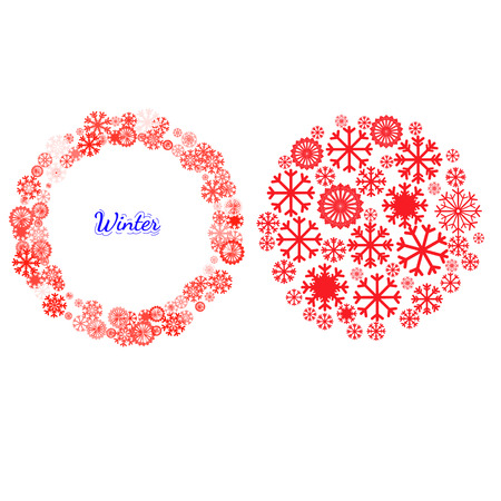 Holidays set for card, package, background. New year and Christmas pictograms, mandala, circle shape made with snowflake. Christmas and New Year banners set