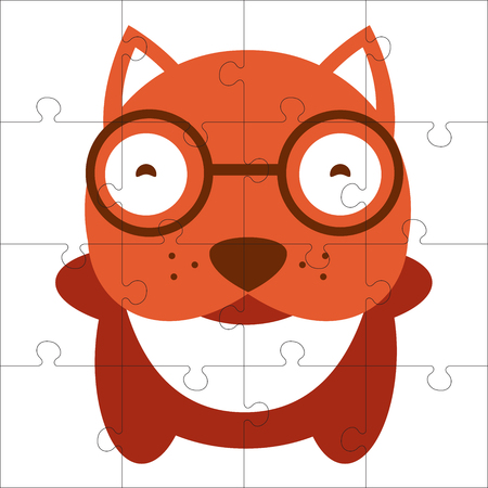 puzzle game for children. Puzzle with dog. Jigsaw game for kid. Visual, rebus, puzzle, educational game for preschool child